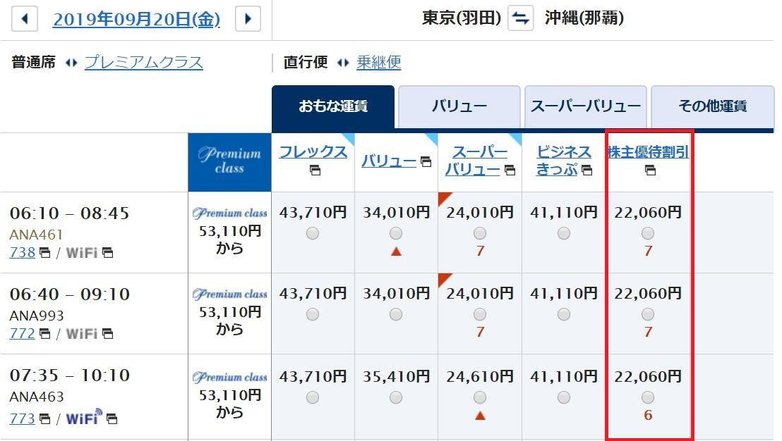 ANA航空チケット価格