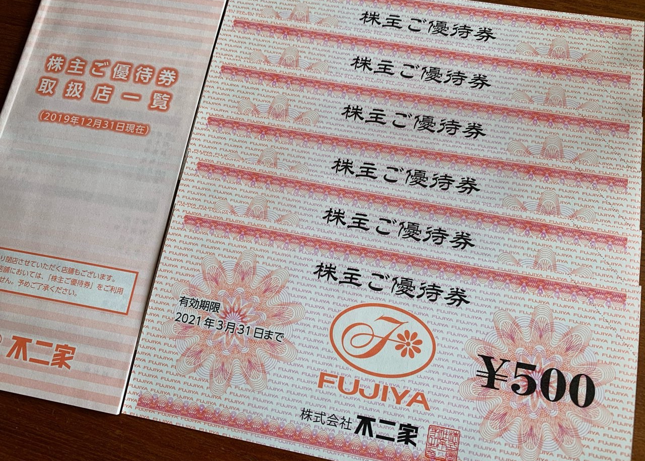 不二家から頂いた株主優待券3,000円分(100株)