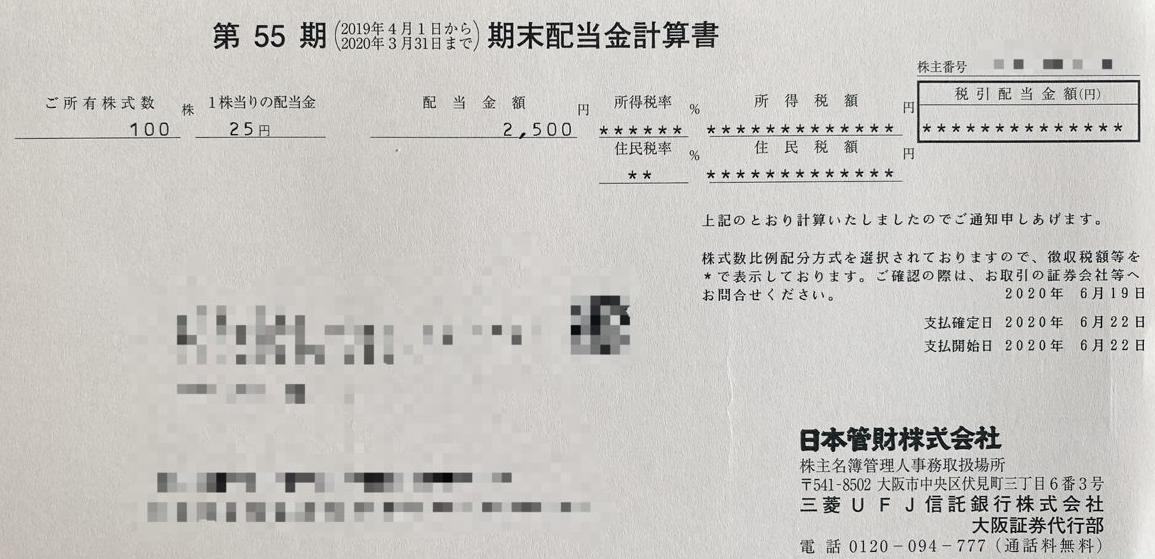 日本管財の期末配当金計算書
